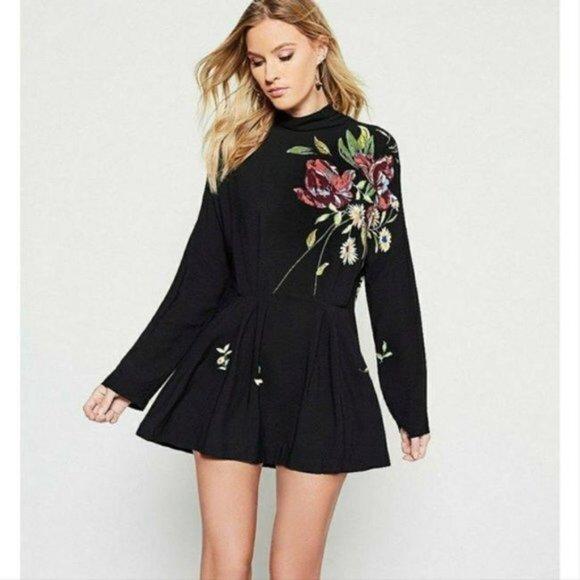 Free People Gemma Minidress Mock-Neck Tunic Floral